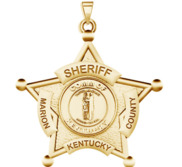 Personalized 5 Point Star Kentucky Sheriff Badge with Rank   Dept