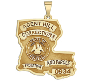Personalized Louisiana Corrections Badge with Rank and Number