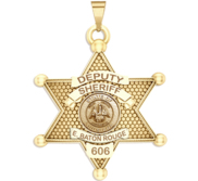 Personalized 6 Point Star Louisiana Sheriff Badge with Rank  Number   Dept