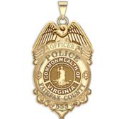 Personalized Fairfax County Virginia Police Badge with Your Rank and Number