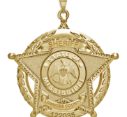 Personalized 5 Point Star Mississippi Sheriff Badge with Rank   Dept