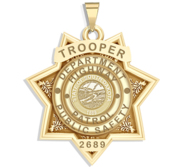Personalized 7 Point Star South Dakota Trooper Badge with Rank  Number   Dept
