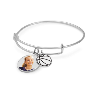 Expandable   Photo Charm Expandable Bracelet with Basketball Charm