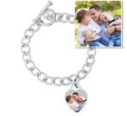 Sterling Silver Tiffany Style Photo Bracelet W  Toggle Lock