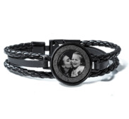 Black Stainless Steel Laser Etched Leather Bracelet