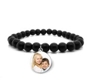 Photo Engraved Beaded Stretch Bracelet
