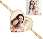 One Heart Photo Engrave Bracelet w  Curb Chain