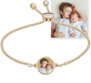 Women s Adjustable Round Photo Engraved Bracelet