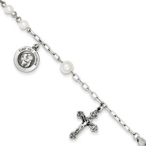 Sterling Silver  Cultured Pearl Rosary Bracelet  with First Holy Communion Medal