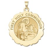 First Holy Communion Religious Medal Scalloped Round   Girl   EXCLUSIVE