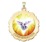 Confirmation Scalloped Round Religious Medal    Holy Spirit  Color EXCLUSIVE