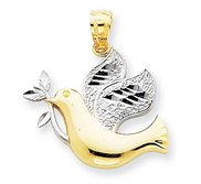 14k Two Tone Gold Holy Spirit Pendant