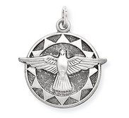 Sterling Silver Antiqued Holy Spirit Religious Medal