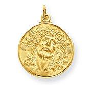 14K Yellow Gold  Ecce  Homo  Christ Head Thick Round Charm