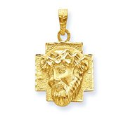 14K Gold Christ Head Diamond Cut Round