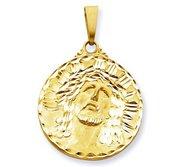 14K Yellow Gold XL  Ecce  Homo  Christ Head Diamond Cut Round