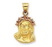 14K Two Tone Gold  Ecce Homo  Christ Head Pendant
