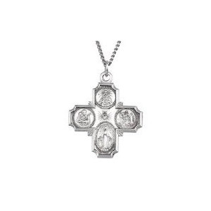 Sterling Silver 4 Way Cross Religious Medal