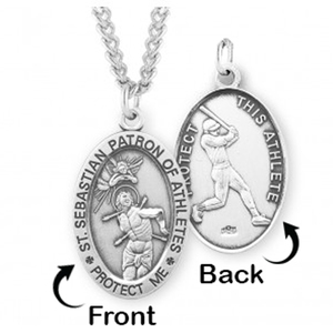Sterling Silver Saint Sebastian Sided Baseball Oval Religious Medal w  Chain
