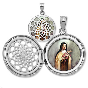 Saint Theresa Ornate Cut out Round Locket