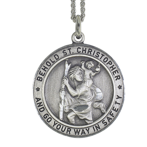 Antique Pewter Saint Christopher Safety Medal w  24 inch Chain