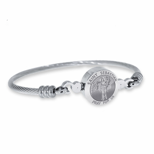 Stainless Steel Saint Sebastian Bangle Bracelet