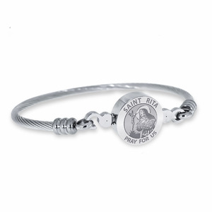 Stainless Steel Saint Rita Bangle Bracelet