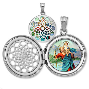 Saint Christopher Ornate Cut out Round Locket