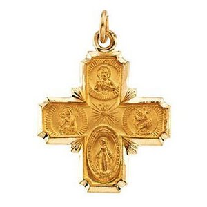 14k Gold 4 Way Cross Religious Medal