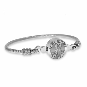 Stainless Steel Saint Brendan Bangle Bracelet
