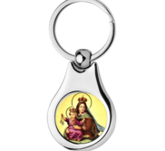 Stainless Steel Color Our Lady of Mount Carmel Scapular Religious Keychain
