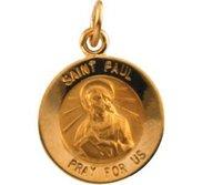 14K Gold Saint Paul the Apostle Religious Medal
