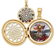 Saint Michael Ornate Cut out Round Locket