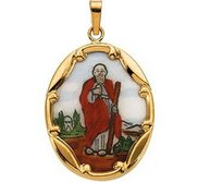 14K Gold and Porcelain Saint Jude Religious Medal