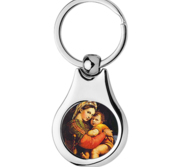 Stainless Steel Color Blessed Mother Keychain