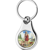 Stainless Steel Color Saint Lazarus Keychain