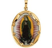 14K Gold and Porcelain Our Lady of Guadalupe Religious Medal