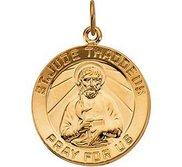 Yellow Gold Saint Jude Thaddeus Round Charm