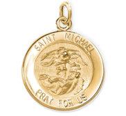 14K Gold Saint Michael Religious Medal