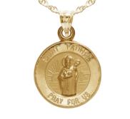14K Gold Saint Patrick Religious Medal