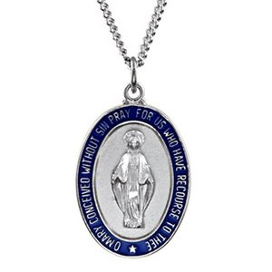 Sterling Silver Miraculous Medal With Blue Enamel