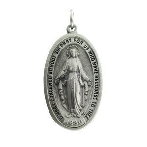 Pewter Polished Miraculous Medal Pendant