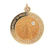 14K Gold Miraculous Medal  H  w  Diamond