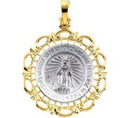 14K White and Yellow Gold Miraculous Medal