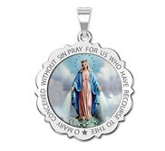 Miraculous Medal Scalloped Round  Color EXCLUSIVE