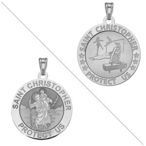 Gymnastics  Saint Christopher Doubledside Sports Religious Medal  EXCLUSIVE