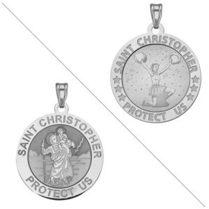 Cheerleader   Saint Christopher Doubledside Sports Religious Medal  EXCLUSIVE
