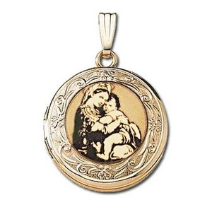 Solid 14k Yellow Gold Blessed Mother Round Photo Locket