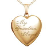 Yellow Gold My Guardian Angel Heart Photo Locket