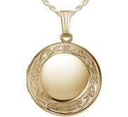 14k Gold Filled Floral Round Photo Locket